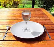 Verre d'eau dans une assiette